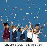 children smiling happiness... | Shutterstock . vector #587083724