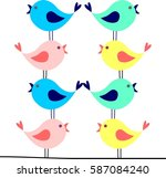 colorful birds  happy cute... | Shutterstock .eps vector #587084240