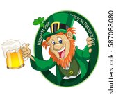 leprechaun with cup of beer | Shutterstock .eps vector #587088080