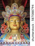 Small photo of Stature of Buddha in a temple inside a monastery in Ladakh province of India.