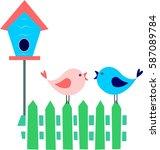two cartoon birds on fence ... | Shutterstock .eps vector #587089784