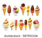 ice cream colorful collection.... | Shutterstock .eps vector #587092106