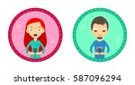 set of two hipster style... | Shutterstock .eps vector #587096294