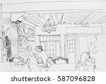 sad date in old cafe  young... | Shutterstock . vector #587096828