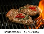 pork steak meat on bbq grill  ... | Shutterstock . vector #587101859