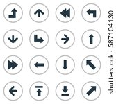 set of 16 simple arrows icons.... | Shutterstock .eps vector #587104130