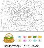 cartoon basket with easter eggs.... | Shutterstock .eps vector #587105654