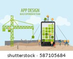 mobile application development  ... | Shutterstock .eps vector #587105684