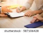 closeup toned of salesman... | Shutterstock . vector #587106428