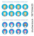vector face cleaning and care... | Shutterstock .eps vector #587106620