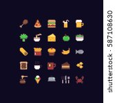 pixel art food icon set with... | Shutterstock .eps vector #587108630