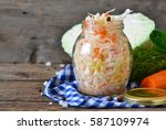 salad of sauerkraut and carrots ... | Shutterstock . vector #587109974