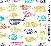 colorful line fish. vector... | Shutterstock .eps vector #587112290