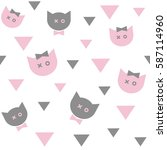 pink and gray cats on a white... | Shutterstock .eps vector #587114960