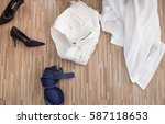 female shoes and underwear or... | Shutterstock . vector #587118653