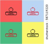 lunch box with apple vector ...