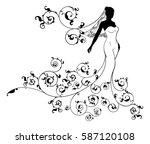 bride in silhouette  the bride... | Shutterstock .eps vector #587120108