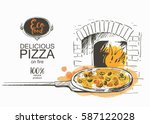 pizza on a shovel baked in the... | Shutterstock .eps vector #587122028