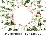 wreath frame of red and white... | Shutterstock . vector #587125730
