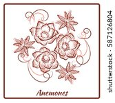 a beautiful bouquet of anemones ... | Shutterstock .eps vector #587126804