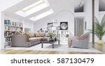 3d rendering modern living room ... | Shutterstock . vector #587130479