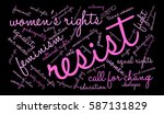 resist word cloud on a black... | Shutterstock .eps vector #587131829