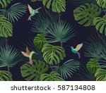 exotic tropical forest.... | Shutterstock .eps vector #587134808