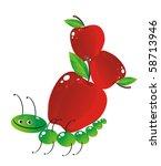 The cheerful caterpillar bears the big apples - stock vector