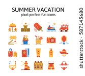 summer vacation   flat icons  ...