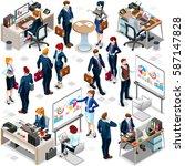 isometric financial people... | Shutterstock .eps vector #587147828