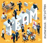 team group of diverse isometric ... | Shutterstock .eps vector #587147984