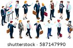 isometric businessman reunion... | Shutterstock .eps vector #587147990