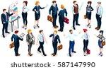 isometric businessman... | Shutterstock .eps vector #587147990
