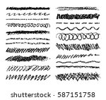 Set of black charcoal strokes. Hand drawn pencil stripes background. Vector like kids wax crayon hand painting texture design elements.