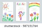 set of wax crayon like kid s... | Shutterstock .eps vector #587151764