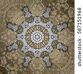 golden snowflakes on neutral... | Shutterstock .eps vector #587151968