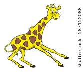 funny smiling yellow giraffe.... | Shutterstock .eps vector #587152088
