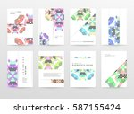 memphis geometric background... | Shutterstock .eps vector #587155424