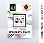 invitation disco party poster... | Shutterstock .eps vector #587155544