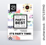 invitation disco party poster... | Shutterstock .eps vector #587155940