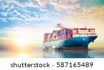 international container cargo... | Shutterstock . vector #587165489