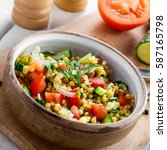 cooking of couscous with... | Shutterstock . vector #587165798