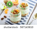 healthy meal made of granola ... | Shutterstock . vector #587165810