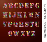 funny english alphabet with... | Shutterstock .eps vector #587168474