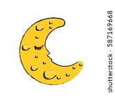 sleeping moon cartoon icon... | Shutterstock .eps vector #587169668