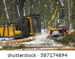 industrial forest harvester... | Shutterstock . vector #587174894