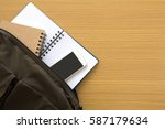 student bag with books and... | Shutterstock . vector #587179634