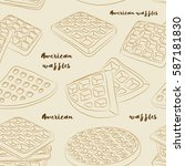 various american waffles pattern | Shutterstock .eps vector #587181830