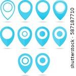blue of 12 blue geo pins.... | Shutterstock .eps vector #587187710
