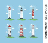 lighthouses illustrations set.... | Shutterstock .eps vector #587190218
